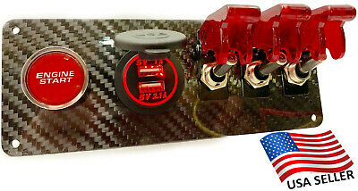 12V Real Carbon Fiber Switch Panel 3 Red Switches/Push Start/Dual Red USB Port
