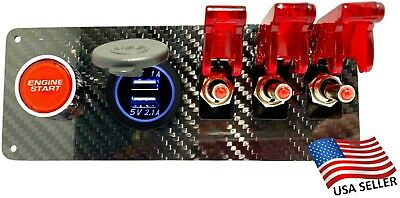 12V Real Carbon Fiber Switch Panel 3 Red Switches/Push Start/Dual Blue USB Port