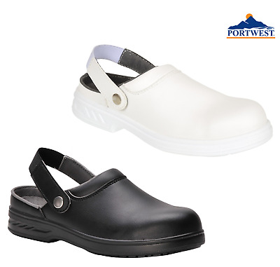 Portwest Slip On Safety Clog Shoes Steelite Food Chef Kitchen Hospital Lab FW82