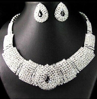 Beautiful Necklace & Earring Set - Rhinestones With Black Accent Stone