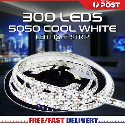 5m 300 LEDs Flexible Bright LED strip Lights 12V Waterproof 5050 SMD Cool White