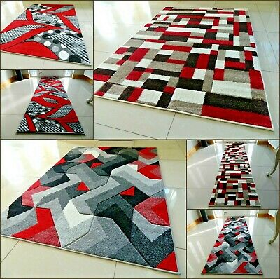 New Red Modern Area Rug Luxurious Thick Carved Soft Heavy Large Floor Mat Runner