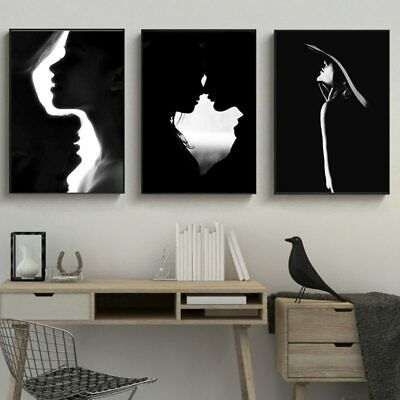 Black and White Figure Picture Nordic Canvas Prints Wall Art Posters No Framed