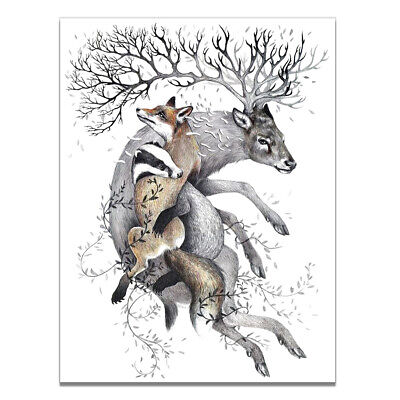 Nordic Fawn Deer Canvas Art Print Poster Bedoom Wall Picture Home Decoration