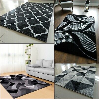 Black Grey Modern Area Rug Luxurious Thick Carved Soft Heavy Large Floor Mat Uk