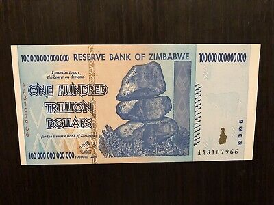 18x Zimbabwe 1 X100 Trillion Dollars, AA /2008,UNC, 100 Trillion Series And More