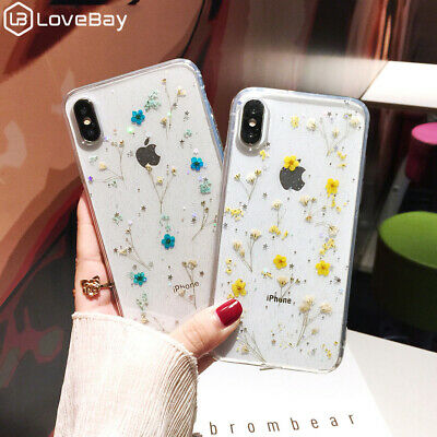For iPhone X XS MAX XR 8 7 6s Luxury Real Dried Pressed Flowers Soft Clear Case