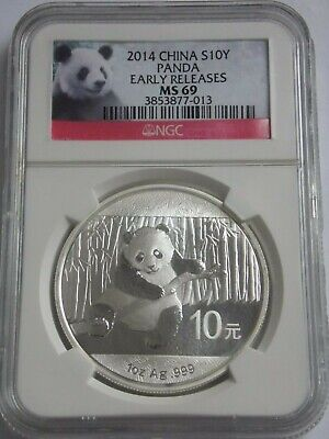 2014 Silver China S10Y Panda Early Releases NGC MS69 .999 1 oz Coin