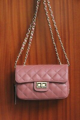 d3bbfd2e2b VERSACE 19.69 Women s 100% Leather Small Quilted Mauve Handbag Free  Shipping NwT