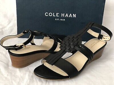 878f81cfe6a5 Cole Haan Findra Woven Slide Wedge Sandal Black Leather Sz 9 B NWB  170