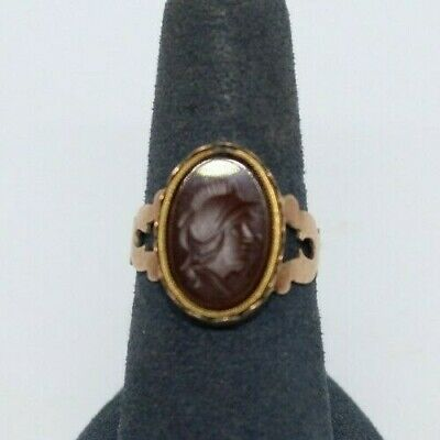 Antique 10kt Gold and Carnelian with carving, Size 7