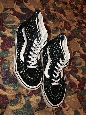 Girls Youth Size 1  VANS  Skate Hightop Sneakers Black w 🖤 White Hearts 606dc3d3e