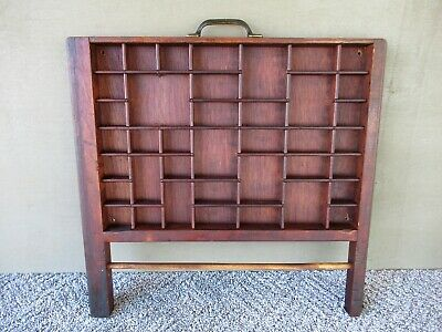 Antique Type Tray Vintage Primitive Printers Drawer Shadow Box, 39 Sections