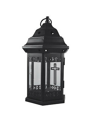 Metal Grave Lantern with 39 Hour Candle - Tribute Funeral Cemetery Decoration