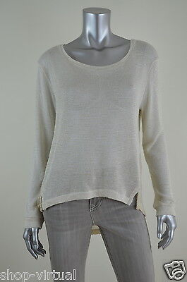 50ddaec5ef6211 BAR III New Womens Ivory Metallic Knit Asymmetric Hem Pullover Sweater  MSRP 49 M
