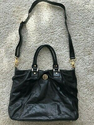 69f9eb91115c TORY BURCH DISTRESSED Black Leather Slouchy Paneled Hobo Tote Bag ...