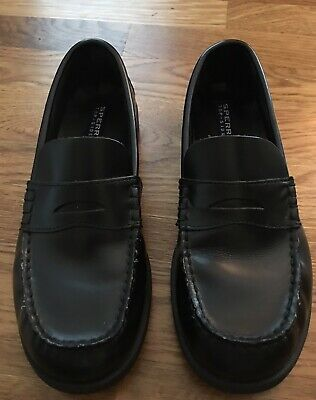 5e1c0d2ace4 BOY S Sperry Top Sider Colton Penny Loafer Black Leather SLIP ON SHOES Size  4