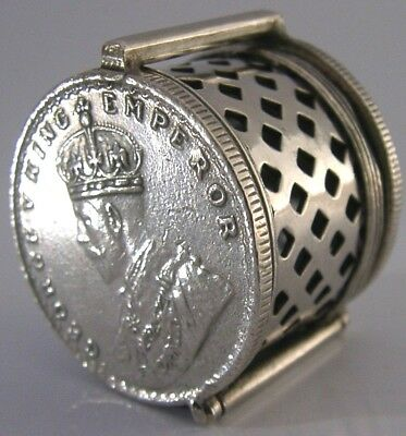 UNUSUAL INDIAN SOLID SILVER ONE RUPEE COIN BOX SOVEREIGN CASE c1919