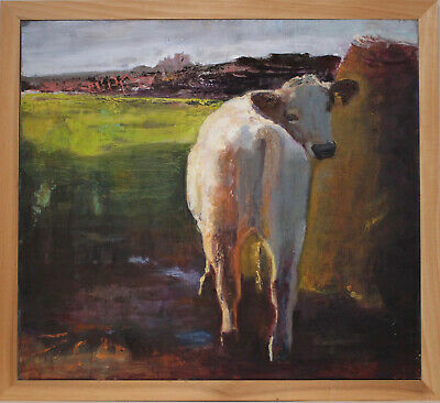 A Splendid, Large Oil Painting on Board, A Curious Cow,  CHRISTINE ALLEN GAGNON