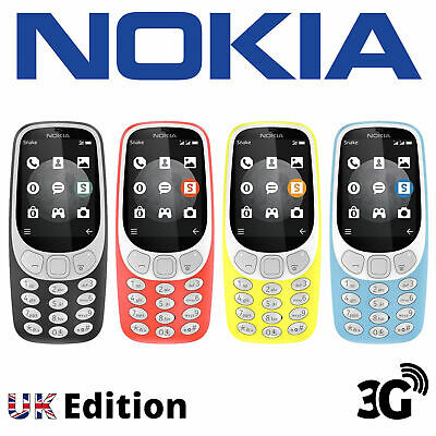 "Nokia 3310 3G 2.4"" 2MP Unlocked Mobile UK Edition in 4 Colours - Refurbished"