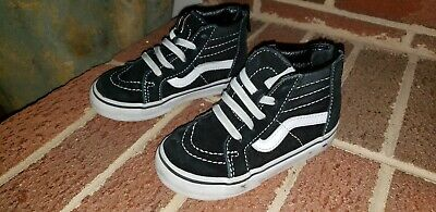 VANS OFF THE WALL BLACK LEATHER INFANT BABY TODDLER HIGH TOP skateboSHOES  SIZE 7 ab8de8040