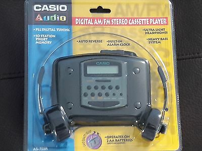 Vintage Casio Audio Digital AM/FM Stereo Cassette Player, AS-703R, New