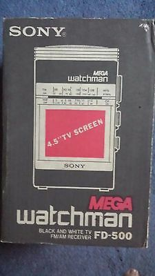 Vintage SONY MEGA watchman,Black & White TV FM/AM Receiver,FD500,New,Charcoal