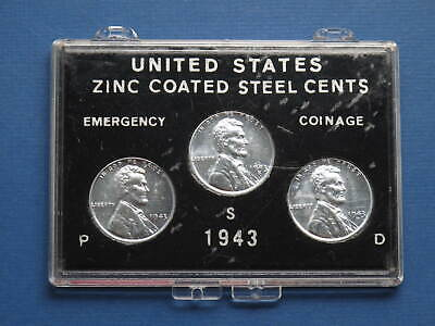 1943 Lincoln Wartime Steel Cents special three mint set in holder