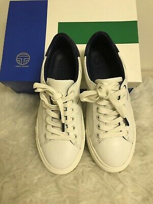 bdf4b30b9833 Tory Burch Sport Chevron Color Block Snaker Calf Leather Sneakers White Navy