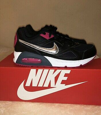 Details zu NIKE AIR MAX IVO Trainers Gym Casual Fashion Leather Black Pink Silver Women's 6