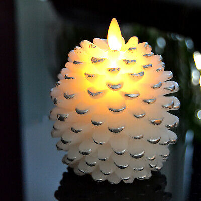 Luminara Pine Cone Battery Operated Led Candle with Real Flame Effect for Home
