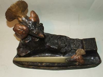 Antique French Art Nouveau Bronze Inkwell Bird Figue & Letter Opener C.1890 Rare