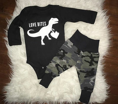 AU Newborn Baby Boy Clothes Romper Tops Bodysuit Jumpsuit Camo Pants Outfits Set