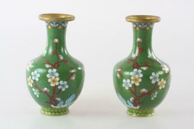 Vintage Chinese Pair Cloisonne Enameled Small Green Vase