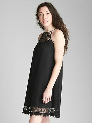 eb67cc88087 Gap Crochet Cami Dress In Linen Black SZ SMALL TALL