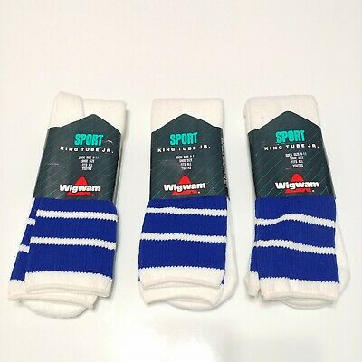 Lot Of 3 - Wigwam Mills King Tube Jr Socks Sport 8-11 Vintage Made In USA Stripe