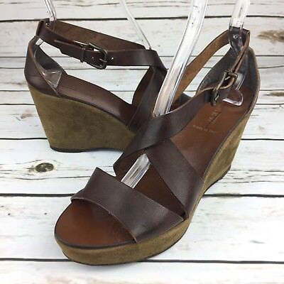 31b8ea8d236 J Crew Wedges Size 9 Brown Leather Suede Ankle Strap Womens 3V3A