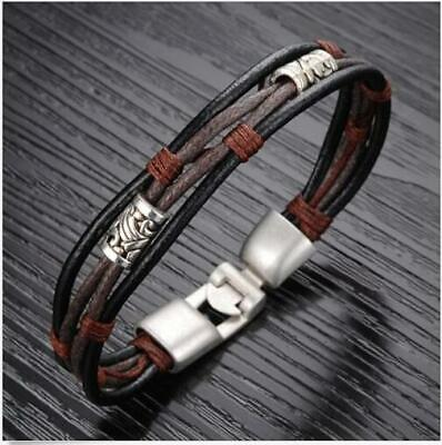 Stainless Steel  Bangle Cuff Braided Genuine Leather Bracelet Wristband Men's