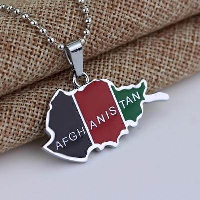 Afghanistan Map Flag Pendant Black Rope Chain Necklace Unisex Jewelry Fashion