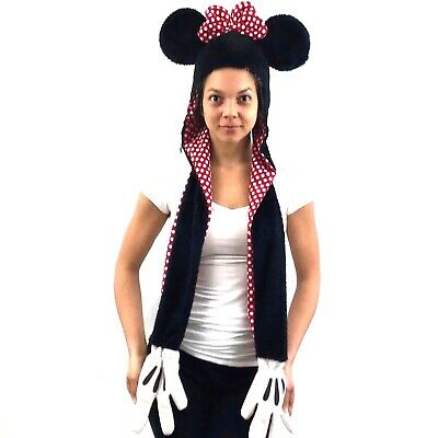 ba64f1071d812 Disney Minnie Mouse Adult Hoodie Scarf Mittens All 1 Piece Size Small  Costume