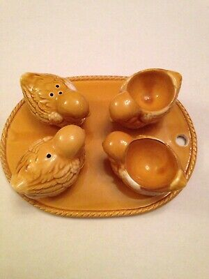 Vintage Chicken Salt & Pepper  Egg Cups Tray Set Excell Condition!
