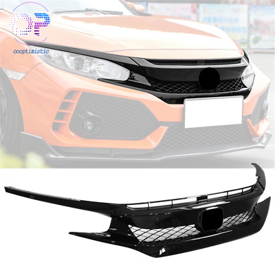 For 16-18 Honda Civic Type R Style Sedan Coupe FK8 Front Bumper Grille Hood ABS