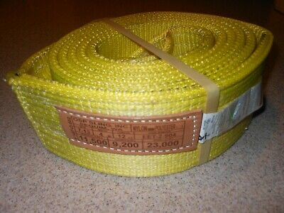"Eet-2-904 Usa Made!  12 Feet Long  Lifting Sling--4"" Wide- 2 Ply Nylon-"