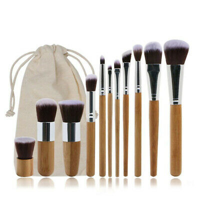 Bamboo Brushes Makeup Brush Set Blush Handle Cosmetic Foundation 11Pcs NEW Kit