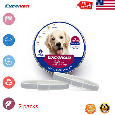 """2x25"""" Flea and Tick Collar for Small Large Dog 6 Months Protection Waterproof US"""