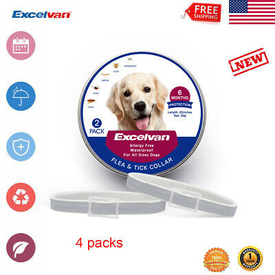 "4x 25"" Flea and Tick Collar for Small Large Dog 6 Months Protection Waterproof"