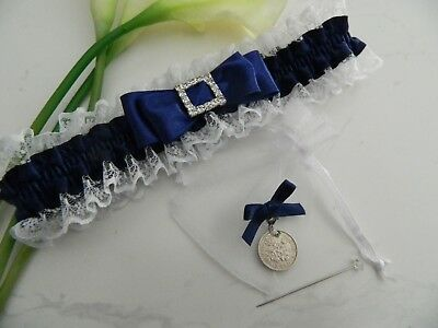 Wedding Garter Navy Blue & White - Set Includes Genuine  Hand Polished Sixpence
