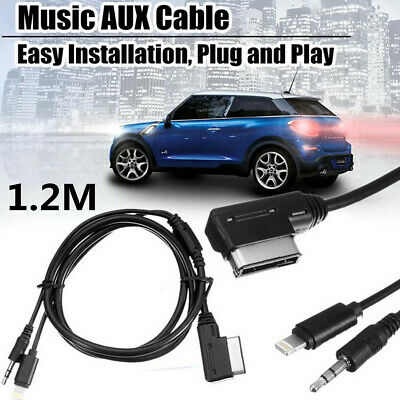 "Black 1.2m/47""MMI Music Interface AUX Cable Cord 8Pin Charging For Mercedes-Benz"