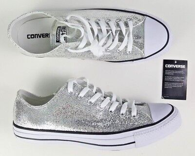 11dbcd9ae64c NEW CONVERSE ALL Star Chuck Taylors Ox Silver Glitter Shoes 135851C Unisex  Sizes -  42.99
