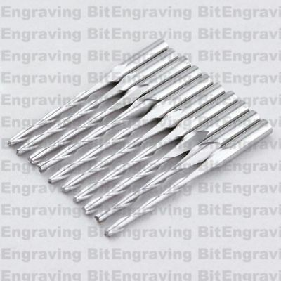 10x1/8'' Carbide Two Flute Spiral Router Bits End Mill CED 2mm CEL 12mm